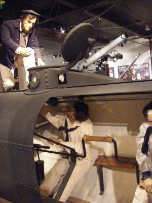 Inside Hunley submarine