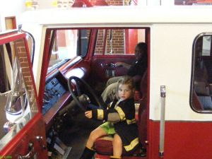 Playing in the fire truck