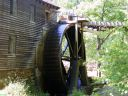 Hagood Mill 20 foot wheel and wooden barn