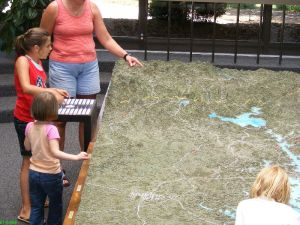Kids checking out the interactive map