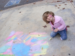 Having fun with the chalk on the walk