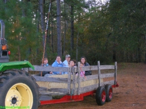 Ecstatic kids on the hay ride