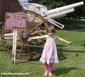 In front of 1935 Japanese field gun at Parris Island museum