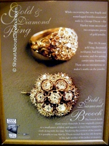 9 diamonds 24 carat gold ring and 37 small diamonds brooch