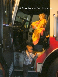 Kids can climb on board a real fire engine