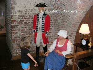 Kids are fascinated by the old colonial style dressed people