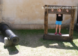 Goofing around at the Powder Magazine museum