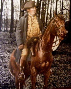 Life size replica of Gen. Morgan riding his horse at Cowpens
