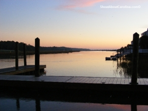 Boat ramp and fishing dock at sunrise
