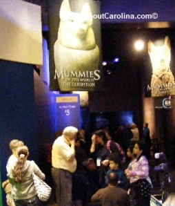 Lining up to enter the mummies exhibit