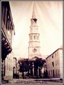 Dock Street Theater and St. Philip Church in the aftermath of the 1886 earthquake