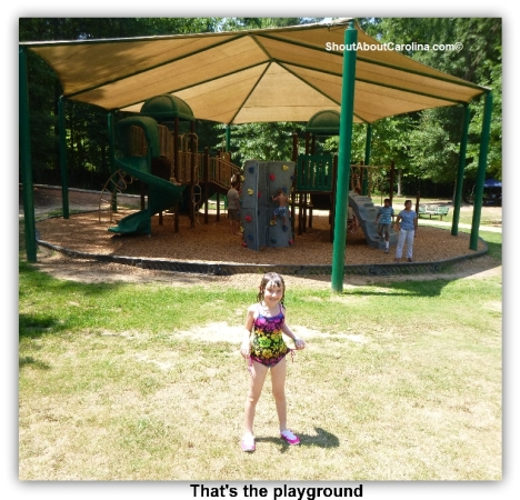 A classic playground right behind the splash pad